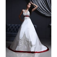 2016 New Style A-line Halter Sleeveless Satin White Wedding Dress With... ($185) ❤ liked on Polyvore featuring dresses and wedding dresses