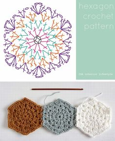 Hexagon motif from Ida Interior Lifestyle   . . . .   ღTrish W ~ http://www.pinterest.com/trishw/  . . . .  #crochet