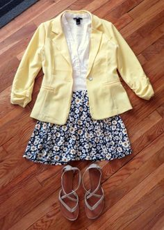 Outfit inspired by Unbreakable Kimmy Schmidt fashion - yellow blazer, daisy flower skirt