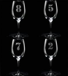 Numbered Wine Glasses - Set of 8