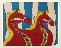 """Polish painter 2013 acril paint Aleksandra Komar """"Horses"""""""