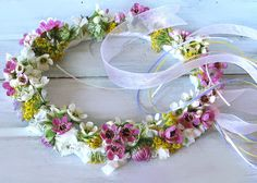 Flower girls are precious and add so much to the wedding ceremony. You can make their hair wreaths yourself from flowers in the garden. This top wreath was made from things in my garden and with two pipe cleaners, some ribbon and glue it cost less. Wax Flowers, Flowers In Hair, Wedding Flowers, Blue Flowers, Hair Garland, Hair Wreaths, Flower Girl Wreaths, Floral Wreath, Flower Girls