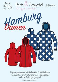 Ebook Schnittmuster Mantel Hamburg - New Ideas Softshell Mantel, Clothing Patterns, Sewing Patterns, Sewing Ideas, Jacket Pattern, Wool Fabric, Sewing Techniques, Couture, Sewing Clothes
