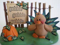 Fall Turkey Scene for Thanksgiving by Helen's by HelensClayArt, $21.95