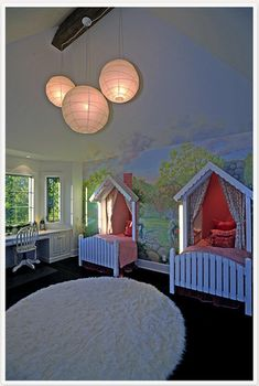 @ Trudy Holtz...wouldn't the girls love this?  love the beds tucked into their own little nook