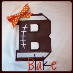 Leather Football Applique TShirt by BGThreads on Etsy, $24.00