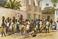 Carregadores de Água (1821) mostra escravos em torno do chafariz da rua da Vala (atual Uruguaiana), no centro do Rio. O local era ponto de ajuntamento de escravos num mundo amplamente dominado pela comunicação oral. (Imagem: BIBLIOTECA NACIONAL DA ALEMANHA)