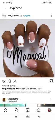 Square Nail Designs, Nail Art Designs, Square Nails, Stylish Nails, Short Nails, Acrylic Nails, Hair Beauty, Pretty Nails, Work Nails