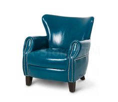 Studio Bladon Leather Accent Chair in Teal Blue by AICO