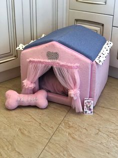 Excited to share this item from my shop: Baby pink and blue denim designer dog house Personalized dog bed Custom made dog house Princess dog bed Cat house Personalized puppy bed Puppy Room, Puppy Beds, Princess Dog Bed, Personalized Dog Beds, Girl And Dog, Girl Dog Beds, Pet Furniture, Dog Coats, Diy Stuffed Animals