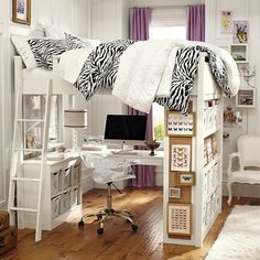I've always loved bunk beds, but the bunk with the desk underneath, complete with shelves is AWESOME!!