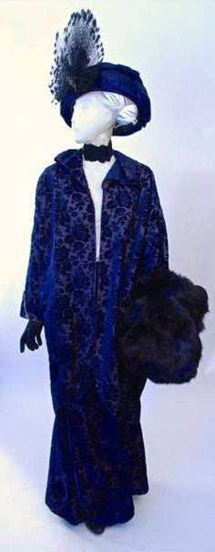 Patterned velvet and satin suit, worn to the inauguration of President Wilson in Washington D.C., March 1913, and satin turban hat decorated with Goura feathers, about 1910-1913~