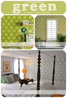 Stenciling a green room? Cutting Edge Stencils has green room inspiration and fun color insights! http://www.cuttingedgestencils.com/cascade-allover-stencil-pattern.html