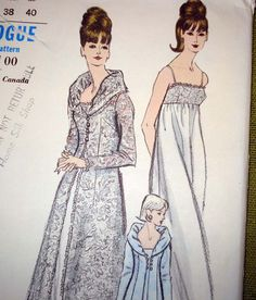 1960s Vintage Vogue Sewing Pattern  Nightgown and by SelvedgeShop, $75.00
