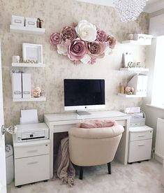 Paper Flowers Wall Decor – Home Wall Decor – Paper Flower Backdrop – Nursery Wall Decor – Paper Flowers Set – Home Office Wall Decor – Chic Home Office Design Work Desk Decor, Chic Office Decor, Cozy Home Office, Home Office Space, Home Office Design, Feminine Office Decor, Feminine Home Offices, Office Desk Decorations, At Home Office Ideas