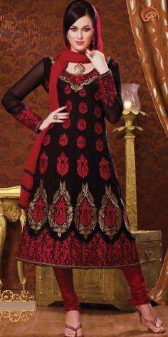 Black Poly Georgettte Salwar Suit at Rs. 3999