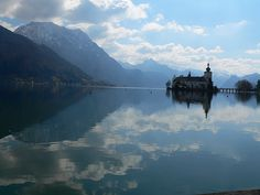 Seeschloss Ort mit Traunsee und Traunstein Austria, River, Spaces, Mountains, Nature, Outdoor, Places, Stones, Outdoors