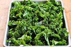 Roasted kale chips with sea salt and vinegar (kalyn's kitchen)