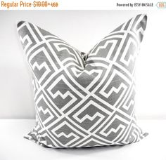 SALE Grey  PILLOW. Gray  and white Pillow by TwistedBobbinDesigns