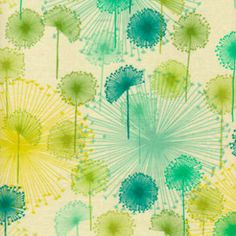 watercolor dandelion fabric. Would be fun to hang on the wall.
