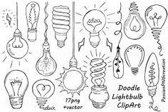 Doodle Light Bulb Clipart - Illustrations - 1