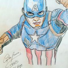 Dibujo a color del capitán América