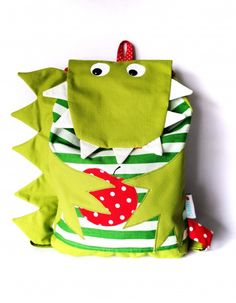 DaWanda is the marketplace for gifts and handmade products. Buy and sell… Crocodile, Food Patterns, Cross Stitch Animals, Felt Toys, Kids Bags, Cute Bags, More Cute, Creative Kids, Crochet Animals