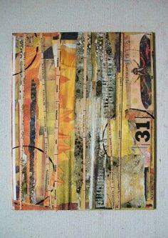 Polilla 31 collage arte original. Una extravagante mezcla de imágenes en tonos cálidos de marrón, negro, oro y naranja. Colocado verticalmente, son algunos de los papeles de y viejo libro y calendario. La imagen de la polilla vintage es negro y naranja con un poco de verde. Hecho con papel, lápiz y pintura en lienzo tablero.  Esto es una pieza impresionante y está listo para ser enmarcado. También puede ser colocado en un estante o un caballete.  Medidas 9 x 12.  Firmado por el artista y la…