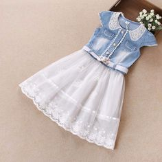 Aliexpress.com: Compre 2015 meninas do bebê vestir nova princesa moda infantil vestido de festa roupas garoto verão Denim Jeans vestido de malha grátis frete de confiança Vestidos fornecedores em Little Lisa                                                                                                                                                      Mais