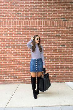 5 Ways To Dress Up A Denim Skirt | theglitterguide.com