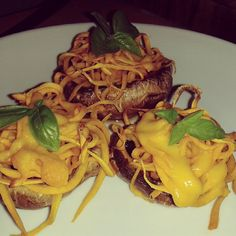mushrooms stuffed with garlic butter and parsley, with spiralised butternut, and basil. foodporn for dinner