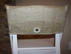 This is the idea ... burlap chair cover for the top of a broken chair.