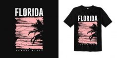 Florida Summer Beach With Sunset Palm Silhouette For T Shirt Vintage Hawaii, Florida Beaches, Summer Beach, Vector Free, Cool Designs, Your Style, Palm, Surfing, Sunset