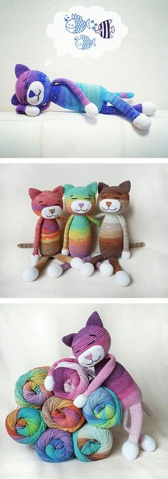 "Large ami cats - free pattern ""My Hobby Is Crochet: Large ami cats - free pattern"", ""Large amigurumi Cat (about 36 cm tall) - Free English Pattern"", Easy Crochet Patterns, Crochet Patterns Amigurumi, Crochet Dolls, Knitting Patterns, Crochet Cat Pattern, Amigurumi Tutorial, Crotchet Patterns For Beginners, Crochet Ideas, Mittens Pattern"