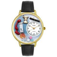 Whimsical Unisex Pharmacist Black Padded Leather Watch