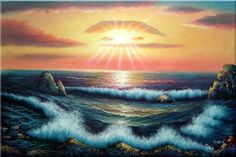 ocean sunset art   Ocean Sunset Sea Waves Seascape Naturalism Oil Painting 24 x 36 inches