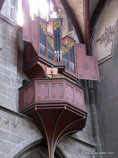 SWITZERLAND: Bern.  Münster (cathedral). New swallow's nest organ, by Metzler of Dietikon, 1982.  Built using evidence of the first organ of 1450.  II/P, 14 stops. Photo by Marlis1, via Flickr