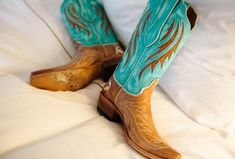 tan-and-turquoise cowboy boots