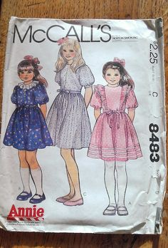 Vintage paper pattern, McCall's 8483 for little girls dress based on 'Annie', uncut, size 5, 1983 by Marcialois on Etsy