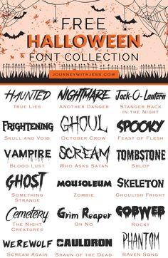 Free Font Collection: Halloween Fonts — Journey With Jess Fancy Fonts, Cool Fonts, Creative Fonts, Awesome Fonts, Scary Font, Spooky Font, Halloween Fonts, Happy Halloween, Halloween Letters