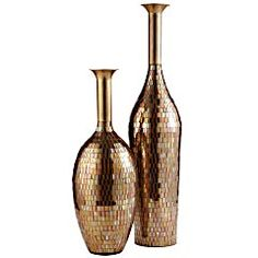 Glass Mosaic Gold Metal Vases from Pier One - gorgeous
