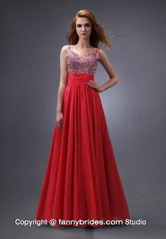 Wholesale Chiffon Sweetheart Beading Empire Waist Prom Dress - Fannybrides.com