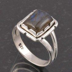 BLUE FIRE LABRADORITE 925 SOLID STERLING SILVER FASHION RING 4.34g DJR6379 #Handmade #Ring