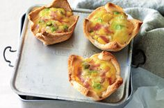 Corn and ham mini quiches.  8 slices bread w/crust removed, butter, corn kernels, cheddar, ham, green onions, 6eggs.  Preheat oven 320F, roll bread slices to 5mm thick, brush w/butter, put in muffin pan butter side down. arrange corn/cheese/ham/green onions in bread cups.  pour egg evenly over top.  bake 15 minutes. put in fridge to chill in air tight container.
