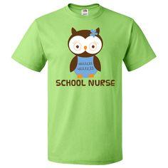 School Nurse Owl T-Shirt Kiwi $18.99 www.personalizedteachershirts.com