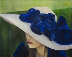 """2012 """"Race day Hat"""" 16""""x20"""" Oil on Canvas, by Aaron Acker"""