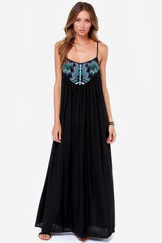 Grecian Grotto Black Maxi Dress