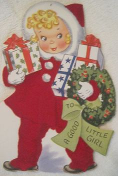 1950's Christmas Greeting Card USA Red Flocked Die-Cut Good Little Girl Big Eyes