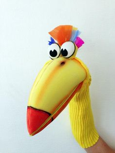 Bird Puppet Hand Puppet with moving mouth fun & education Puppet Crafts, Sock Crafts, Bird Crafts, Sock Puppets, Hand Puppets, Finger Puppets, Bird Puppet, Puppet Show, Marinette Puppet