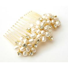 Wedding Pearl Hair Comb Gold Bridal Hair Accessories Ivory R |... ($46) ❤ liked on Polyvore